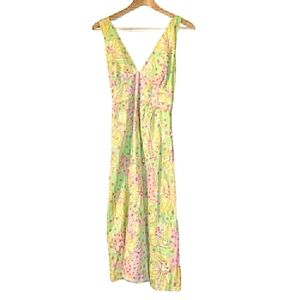 Lilly Pulitzer Floral Horse Cotton Midi Dress
